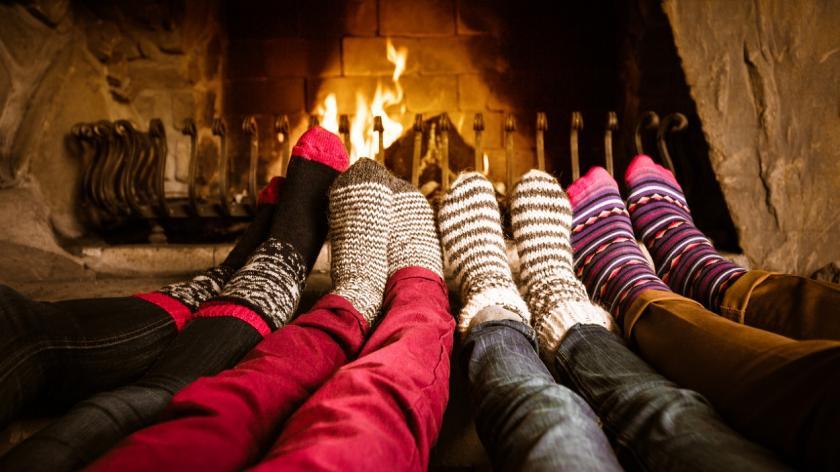 Log fire and warm socks