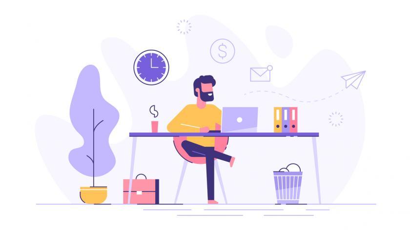 Freelancer working at desk graphic