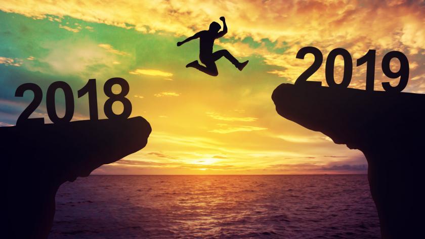 Man jumping between 2018 and 2019