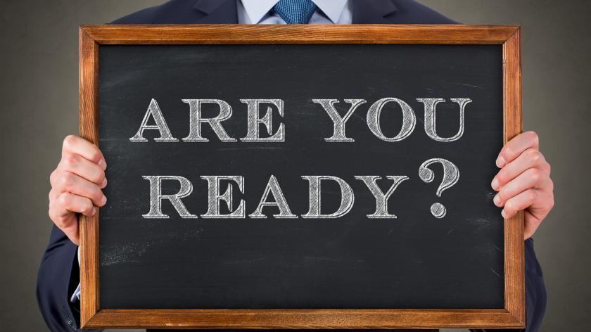 Chalkboard saying 'Are you ready?'