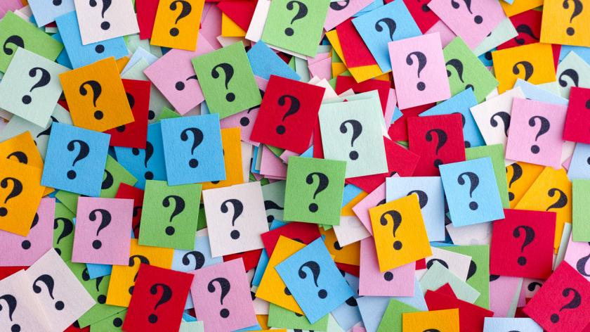 Post-It notes containing question marks