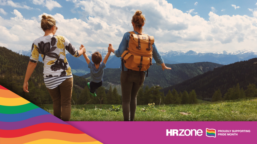 Two young women and little boy enjoying the nature of the Austrian Alps