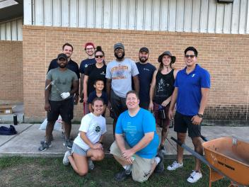 Employees from Logical Position's Austin, Texas office pose for a quick photo after completing an ACES volunteer project benefiting the Austin Parks Foundation.